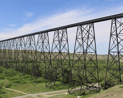 Lethbridge Viaduct - Highest and largest bridge in Canada. The Lethbridge Viaduct, commonly known as the High Level Bridge, was constructed between 1907–1909.